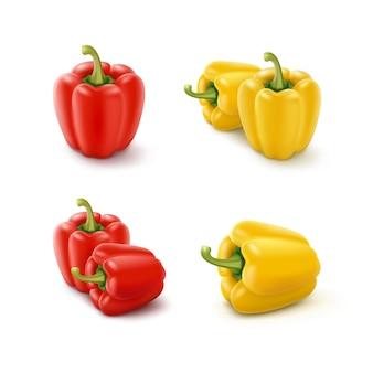 Set van gekleurde gele en rode zoete bulgaarse paprika, paprika geïsoleerd op een witte achtergrond