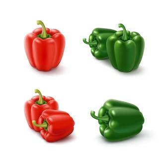 Set van gekleurde groene en rode zoete bulgaarse paprika, paprika geïsoleerd op een witte achtergrond