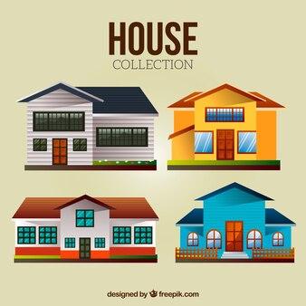 Set van gekleurde huizen in plat design