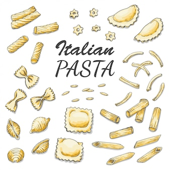 Set van gekleurde italiaanse pasta