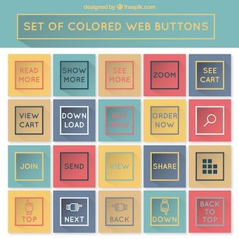 Set van gekleurde knoppen voor het web