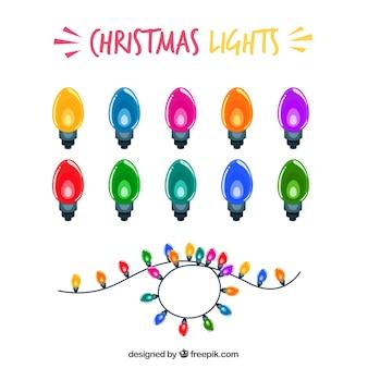 Set van gekleurde lichten voor kerstviering