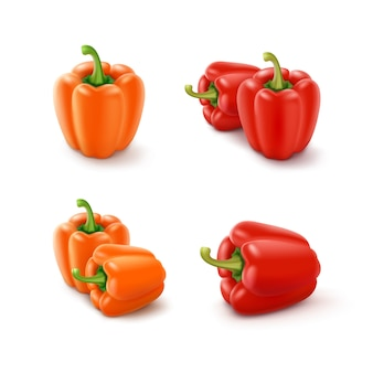 Set van gekleurde oranje en rode zoete bulgaarse paprika, paprika geïsoleerd op een witte achtergrond