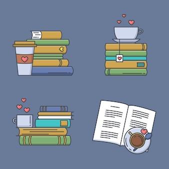 Set van gekleurde pictogrammen voor boekfans. boek stapels, koffie- of theemokken en papieren bekers.