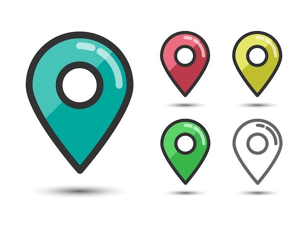 Set van gekleurde pin pointers lineaire platte pictogrammen