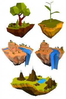 Set van gekleurde vliegende eilanden met bomen, bergen en watervallen.