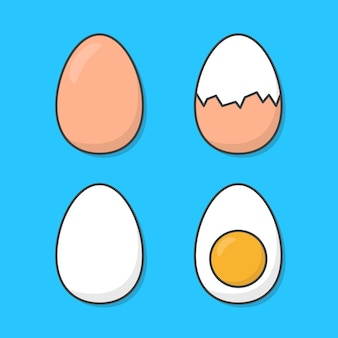Set van gekookte kip eieren geïsoleerd op blauw