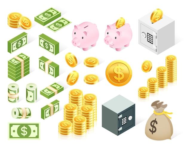 Set van geld pictogram symbool