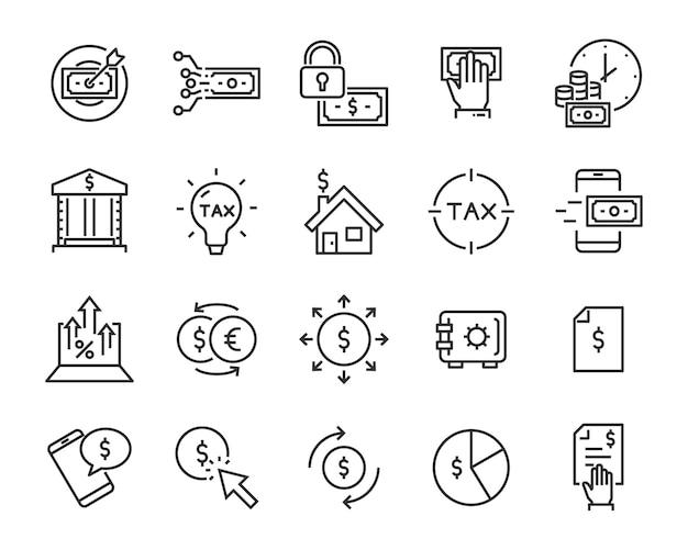 Set van geld pictogrammen
