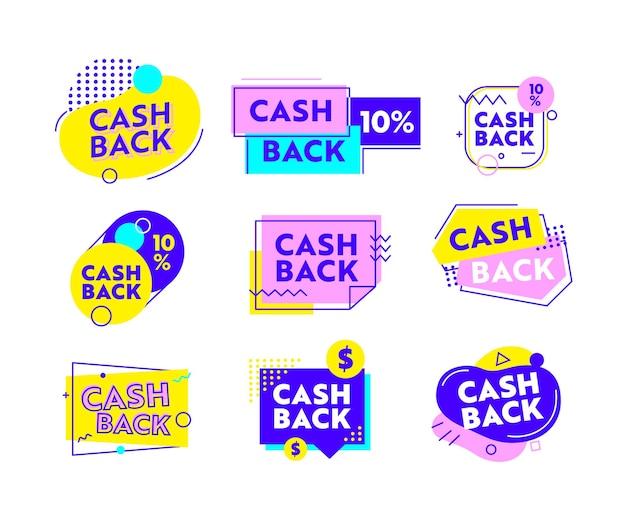 Set van geld terug pictogrammen of banners met abstracte geometrische vormen en lijnen. cashback-aanbieding met lineaire symbolen en typografie. advertentieposter, embleem, geldterugbetaling geïsoleerde vectorillustratie