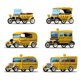 Set van gele antieke taxi-auto in retro stijl op wit