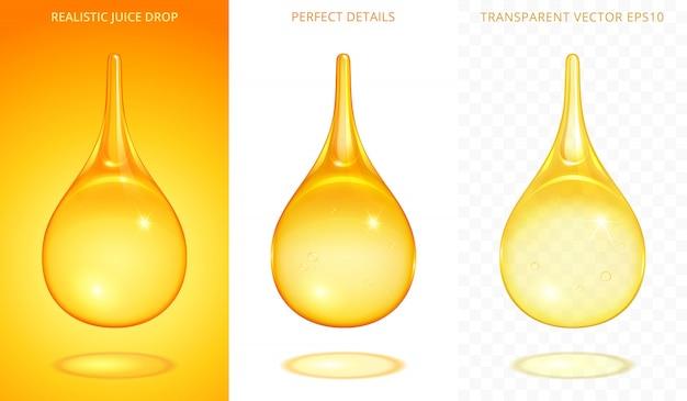 Set van gele druppels. 3d-realistische druppels met verschillende gouden tinten. iconen van sap, honing, olie, bier, tinctuur, energiedrank. perfecte details. verloopnetjes met verschillende transparantie.