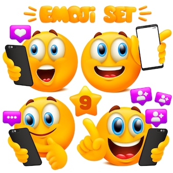 Set van gele emoji-cartoon met verschillende gezichtsuitdrukkingen in glanzend 3d. smartphone gebaren concept.