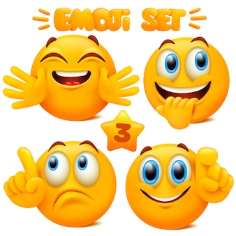 Set van gele emoji-pictogrammen emoticon stripfiguur met verschillende gezichtsuitdrukkingen in 3d-stijl geïsoleerd