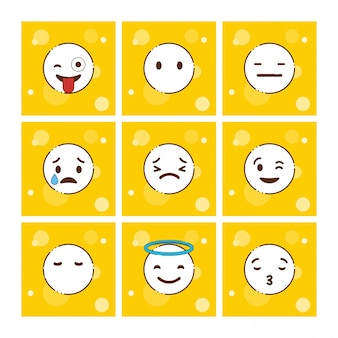 Set van gele emoji's design vector