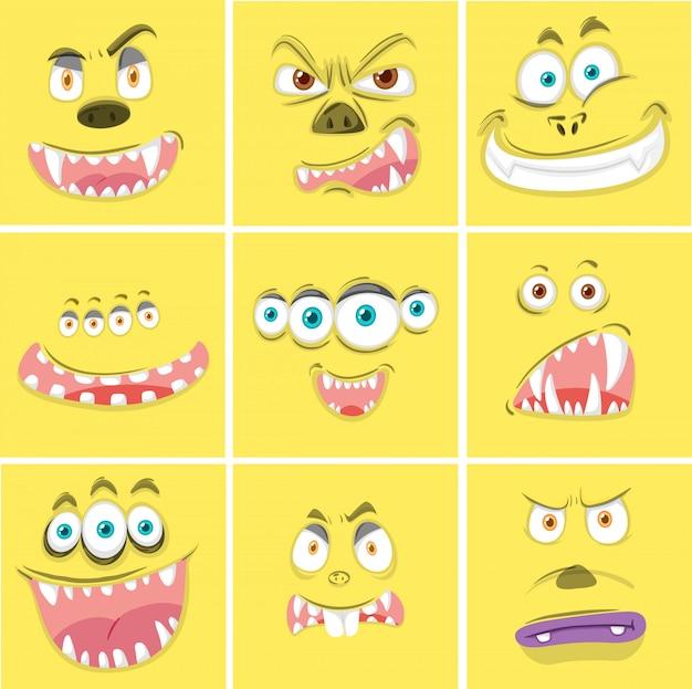 Set van gele monster gezichten