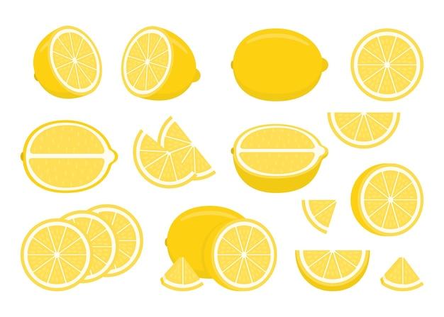 Set van gele rijpe citroenen - geheel, half gesneden, stuk en plak gehakte citroen.