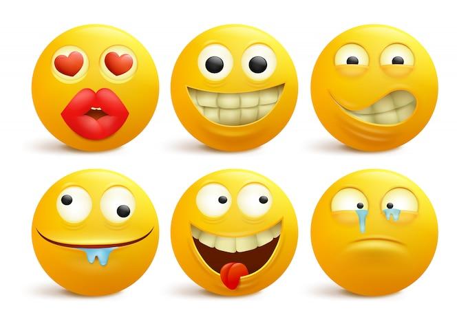 Set van gele smileygezicht emoticon stripfiguren.
