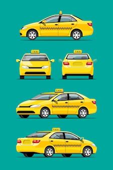 Set van gele taxiauto, bezorgdienst vervoer, zakelijke sedan geïsoleerd. voertuig branding. zij-, voor- en achteraanzicht op groene achtergrond, illustratie