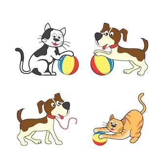 Set van gelukkig huisdier dat een bal / pet speelgoed accessoires speelt