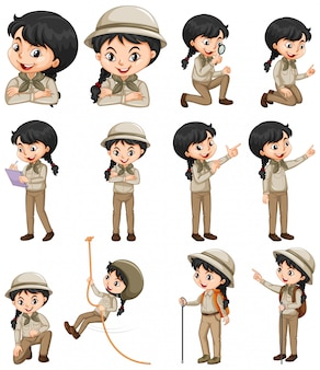 Set van gelukkig meisje in safari outfit verschillende dingen doen
