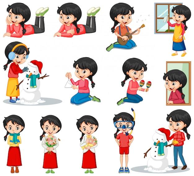 Set van gelukkig meisje in verschillende acties