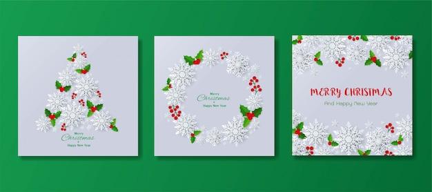 Set van gelukkig nieuw jaar en merry christmas wenskaart