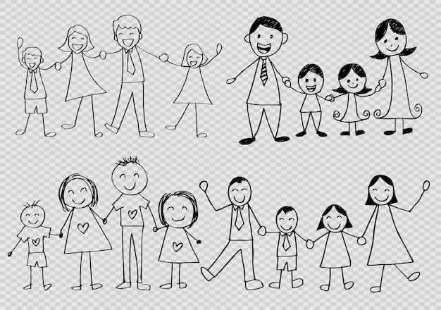 Set van gelukkige familie omtrek tekens