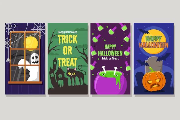 Set van gelukkige halloween nacht banner met gluren spook, kat, chemische pot en pompoen