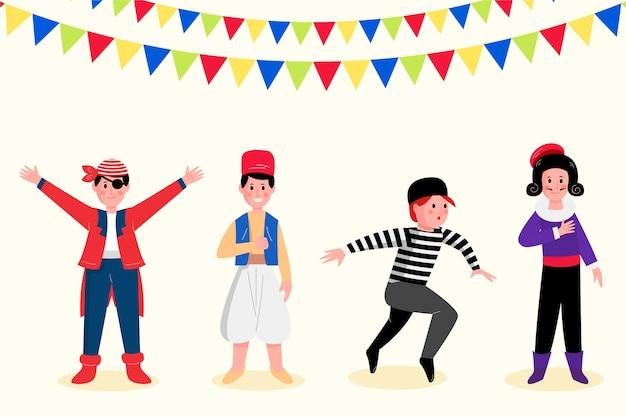 Set van gelukkige karakters die carnavalskostuums dragen