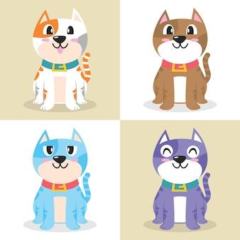 Set van gelukkige kat karakter cartoon afbeelding plat ontwerpconcept