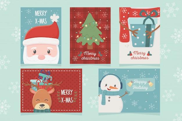 Set van gelukkige kerstviering
