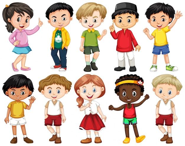 Set van gelukkige kinderen doen verschillende acties