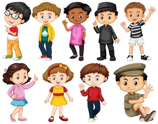Set van gelukkige kinderen groet
