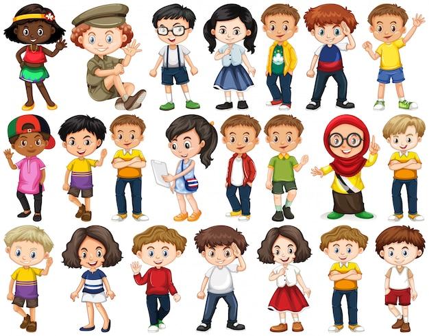 Set van gelukkige kinderen hallo zwaaien