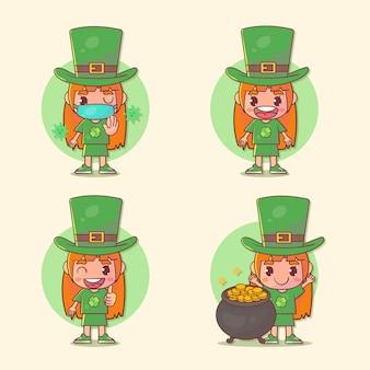 Set van gelukkige kinderen meisje st. patrick's day-personage met veel gebaaruitdrukkingen.