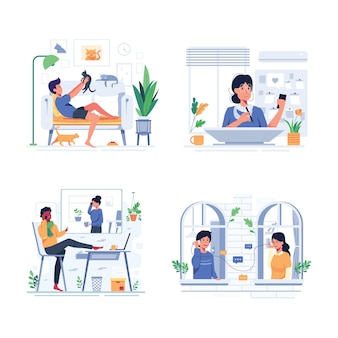 Set van gelukkige mensen levensstijl tijdens stay home in stripfiguur stijl, ontwerp vlakke afbeelding