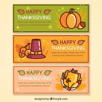 Set van gelukkige thanksgiving day banners in lineaire stijl