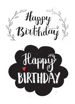 Set van gelukkige verjaardag hand getekende kalligrafie pen borstel vector ontwerp