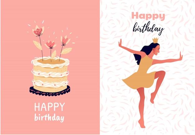 Set van gelukkige verjaardag illustraties met een vrouw dansen en een taart