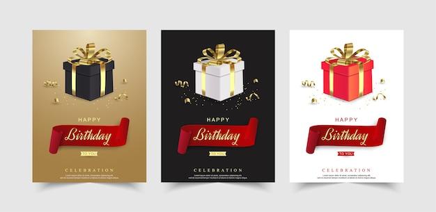 Set van gelukkige verjaardagsviering met realistische geschenkdoos en lint.