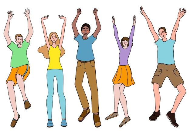 Set van gelukkige, vrolijke mensen. overwinning, geluk, goed humeur concept. gekleurde tekening van vrouwen en mannen in volle groei geïsoleerd op wit. collectie van hand getrokken vectorillustratie.