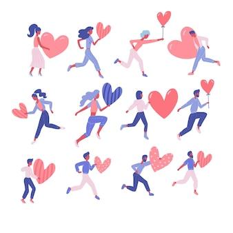 Set van gelukkige vrouw en man met harten. valentijnsdag concept van vrijwilligerswerk of romantische relatie