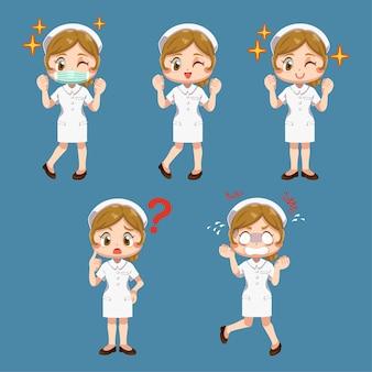 Set van gelukkige vrouw in verpleegster uniform met verschillende acteren in stripfiguur, geïsoleerde vlakke afbeelding