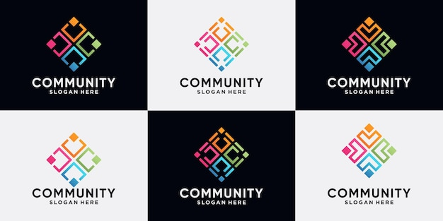 Set van gemeenschaps- en menselijk logo-ontwerp voor sociale groep met lijnkunststijl en modern concept