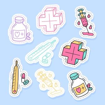Set van geneeskunde stickers handgeschreven collectie in cartoon-stijl.
