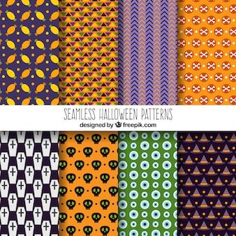 Set van geometrische halloween patronen