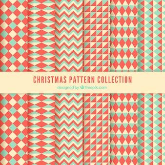 Set van geometrische kerstpatronen