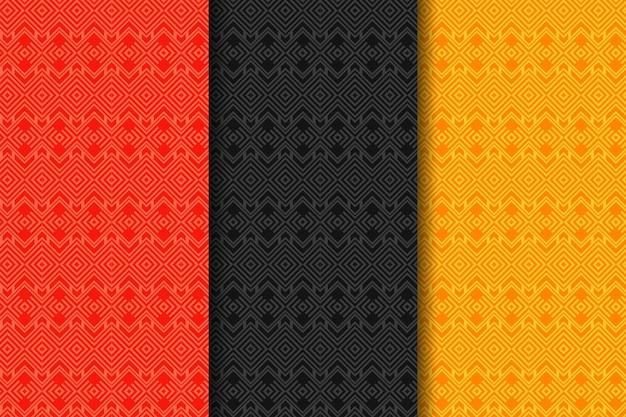 Set van geometrische naadloze patronen abstracte geometrische vierkanten grafisch ontwerp print 3d patroon