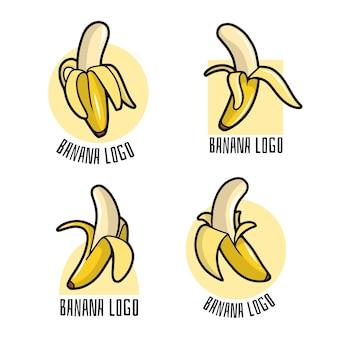 Set van gepofte bananenlogo's